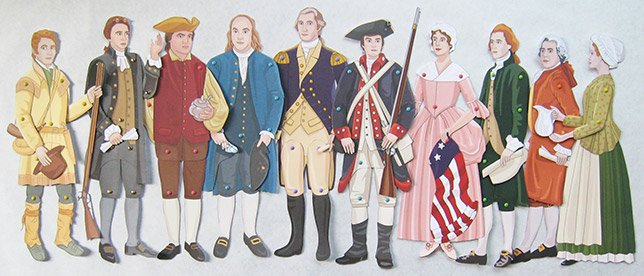 Articulated paper dolls of famous people from the American Revolution