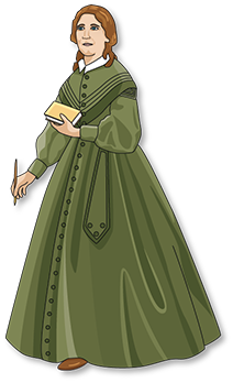 Articulated paper doll of Harriet Beecher Stowe.