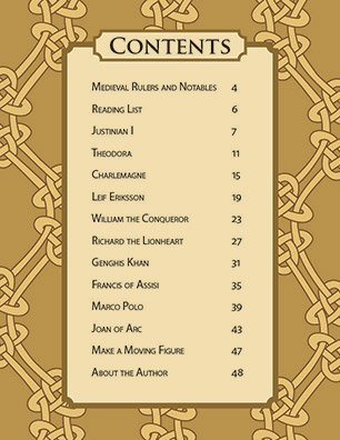Table of Contents for Famous Figures of the Early Modern Era | Articulated Paper Dolls to Cut, Color and Assemble