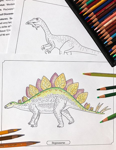 Dinosaur coloring pages from Dinosaurs on the Move Coloring eBook