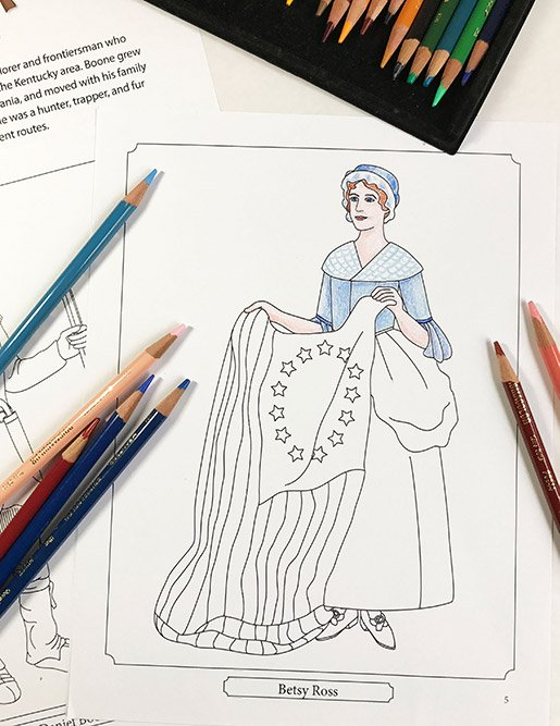 American History coloring pages from Famous Figures of the American Revolution Coloring eBook