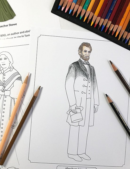 Civil War coloring pages from Famous Figures of the Civil War Coloring eBook