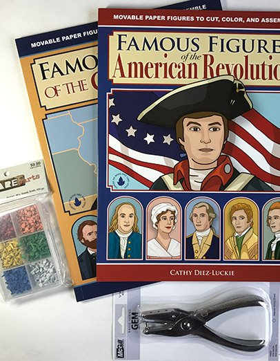 American History Articulated Paper Doll Bundle with Punch and 600 pc set of mini brads