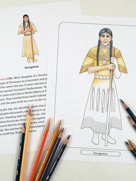 Coloring book page of Sacagawea from Famous Figures of the Early Modern Era Coloring eBook