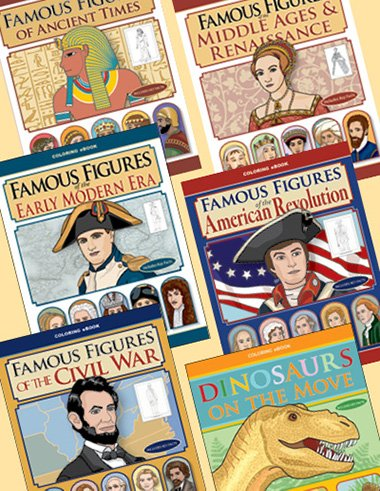 Giant Coloring eBooks BUNDLE of historical people and dinosaurs