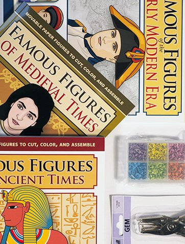 World History Bundle with 4 books of articulated paper dolls, hole punch, and 600 pc mini brad set