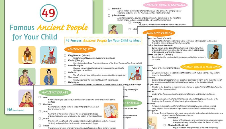 Free Printable of 49 Famous Ancient People for Your Kids to Meet