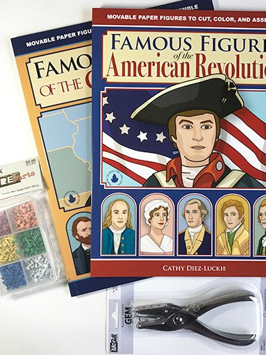 American History Bundle with 2 books of articulated paper dolls, hole punch, and 600 pc mini brad set