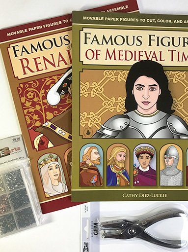 Medieval Renaissance History Bundle with 2 books of articulated paper dolls, hole punch, and 600 pc mini brad set