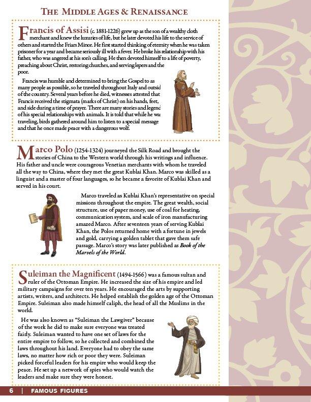 Famous Figures of the Middle Ages & Renaissance Text