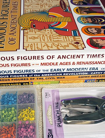 World History Bundle with 7 books of articulated paper dolls, hole punch, and 600 pc mini brad set