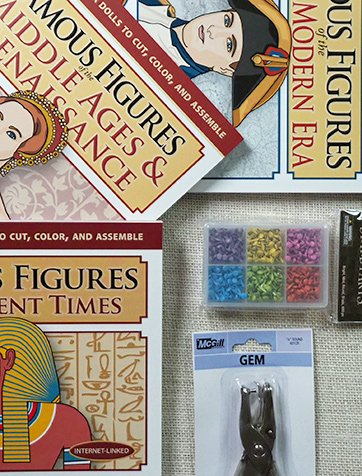World History Bundle with 3 books (63 figures) of articulated paper dolls, hole punch, and 600 pc mini brad set